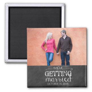 We're Getting Married Chalkboard Photo Magnet
