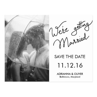 We're Getting Married Script Save The Date Photo Postcard