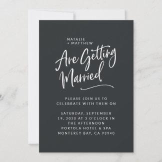 We're getting married script wedding invitation