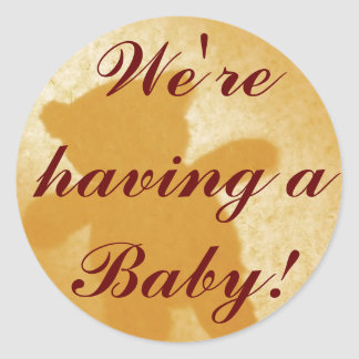 We're having a Baby! Announcements Round Sticker