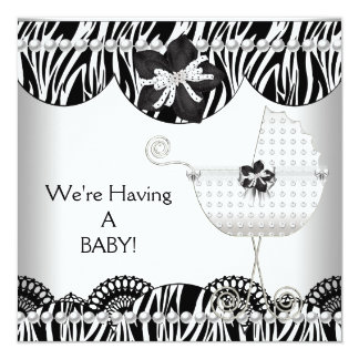 We're Having A BABY! Black White Zebra Expecting Card