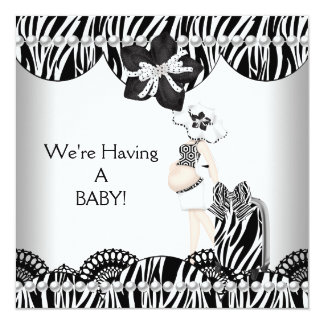 We're Having A BABY! Black White Zebra Expecting Invitations