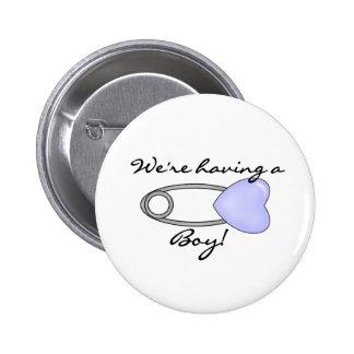 We're Having a Boy Pinback Button
