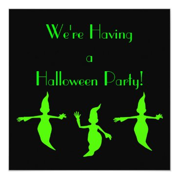 """Halloween Themed """"We're Having a Halloween Party!"""" Green Ghosts [a] Card"""