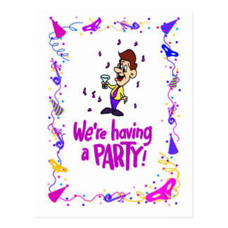 We're having a party, boy with a drink postcard