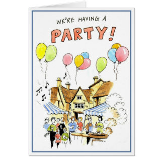 We're having a party greeting card