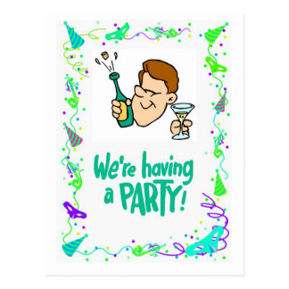 We're having a party, popping corks postcard
