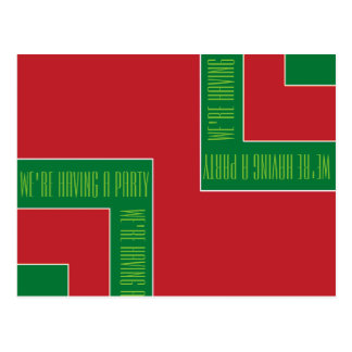 """""""We're Having A Party"""" Red/Green Color Corner (MB) Postcard"""