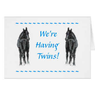 We're Having Twins Card Foal Announcement Card