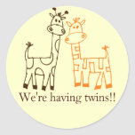 """We're Having Twins!!"" Twin Giraffes Classic Round Sticker"
