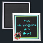 """We&#39;re Here Personalized Stateroom Door Marker Magnet<br><div class=""""desc"""">We Are Here Persosnalized Cabin Door Marker. Personalize with your own name, any teexxt you&#39;d like . A thoughtful bon voyage gift! Cruise Ships keep getting bigger and bigger. The hallways with longer and longer rows of cabin doors that all look alike.! Mark YOUR stateroom door with a Staterooom Door...</div>"""