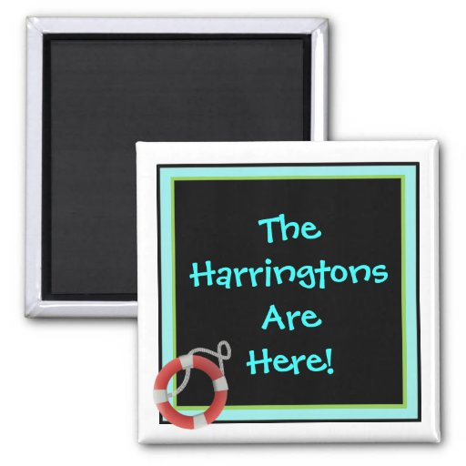 We're Here Personalized Stateroom Door Marker Fridge Magnet