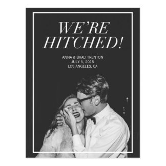 We're Hitched | Modern Photo Wedding Announcement Postcard