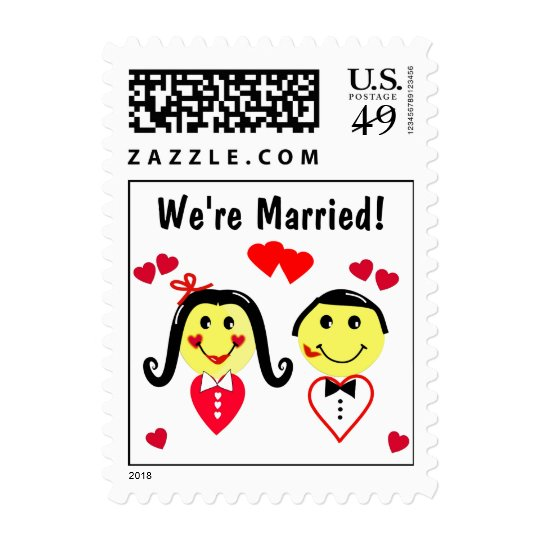 We're Married! Cartoon Couple Postage Stamps
