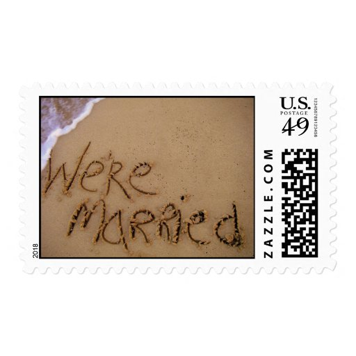 We're Married in Sand Postage Stamps