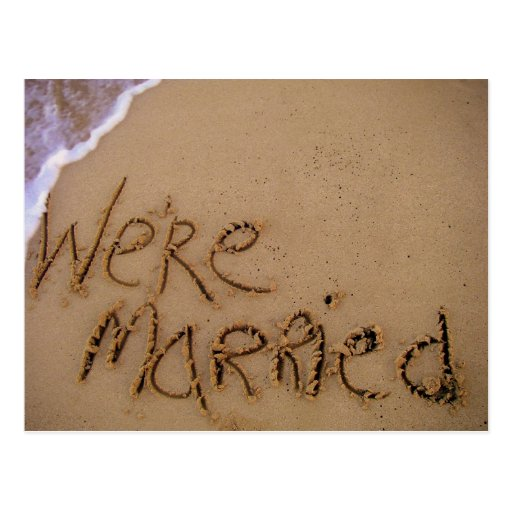 We're Married in Sand Postcard