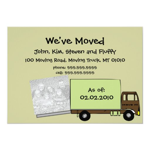 "We're Moving Announcement Cards (w/ house photo) 5"" X 7"" Invitation Card"