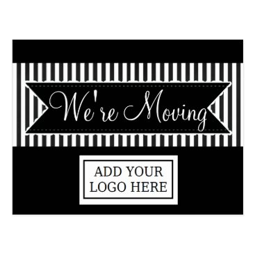 Professional Business We're Moving Black Striped Notification Postcards