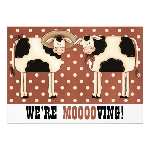 We're Moving! Funny Country Cows Housewarming Custom Invitations
