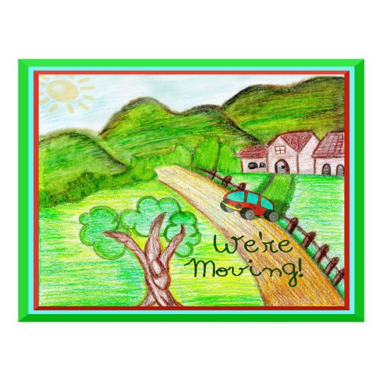 We're Moving New Home Kids Art Postcard