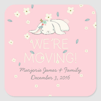 We're Moving Pink and Beige Bunnies with Flowers Square Sticker