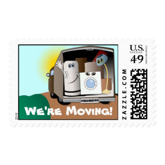 We're Moving! Postage Stamps
