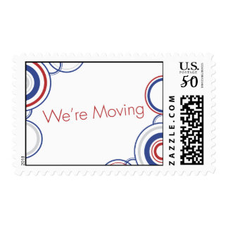 We're Moving - Red & Blue Circles Postage