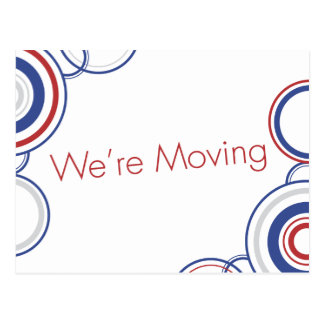 We're Moving - Red & Blue Postcard
