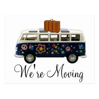 We're Moving Retro Van Notification Postcards