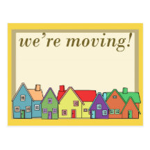 We're Moving Yellow Border Postcard!