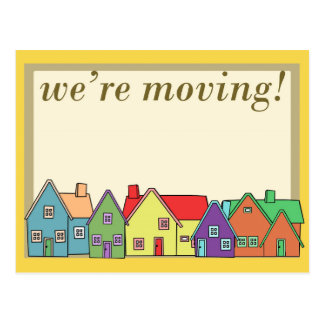 We're Moving Yellow Border Postcard! Postcard
