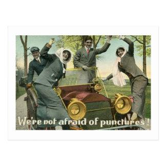 We're Not Afraid Of Punctures! Vintage Postcard