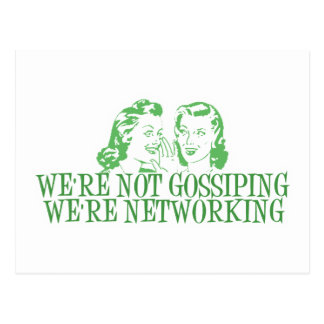 We're Not Gossipping We're Networking Green Postcard