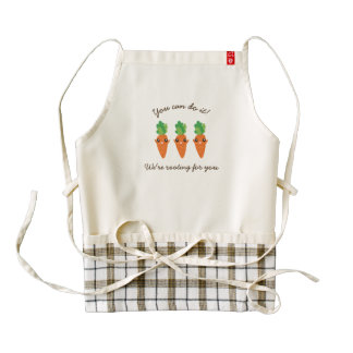 We're Rooting For You Funny Encouraging Carrots Zazzle HEART Apron