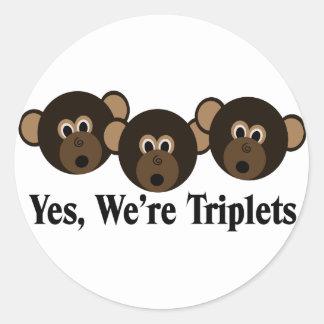 We're Triplets  Monkeys Stickers