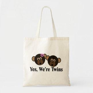 We're Twins 1G1B Monkeys Canvas Bags