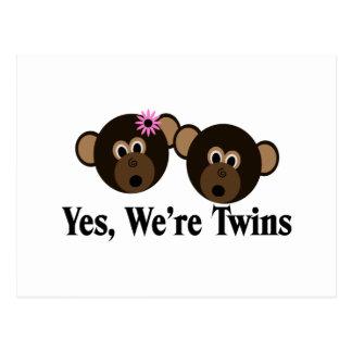We're Twins 1G1B Monkeys Postcard