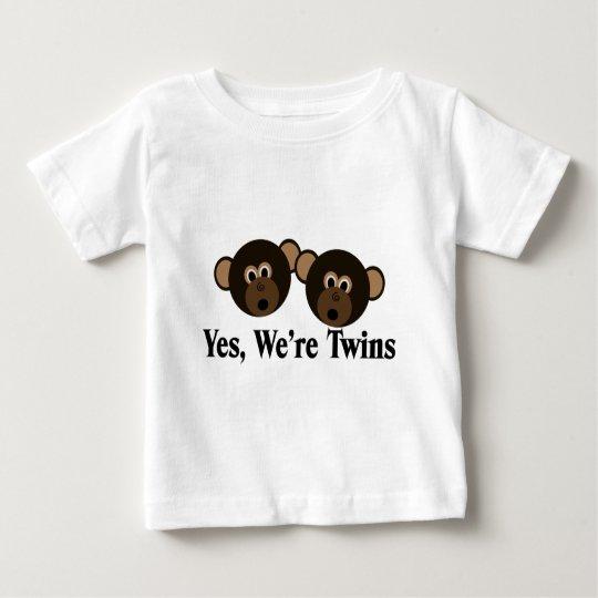 We're Twins 2 Boys Monkeys Baby T-Shirt