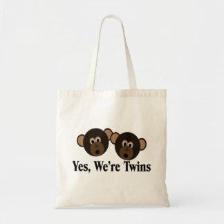 We're Twins 2 Boys Monkeys Canvas Bag