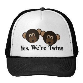 We're Twins 2 Boys Monkeys Trucker Hat