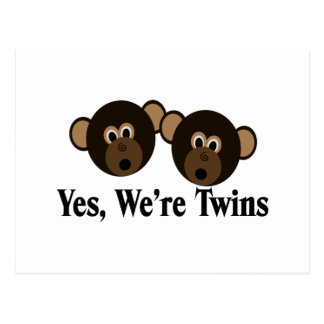 We're Twins 2 Boys Monkeys Postcard