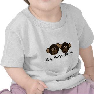 We're Twins 2 Boys Monkeys T Shirt