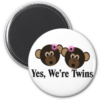 We're Twins 2 Girls Monkeys 2 Inch Round Magnet