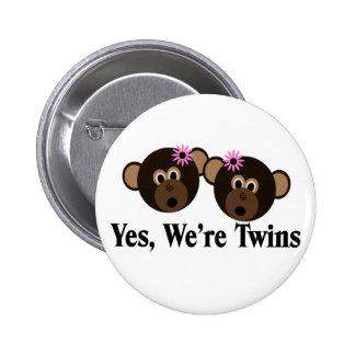 We're Twins 2 Girls Monkeys Pins