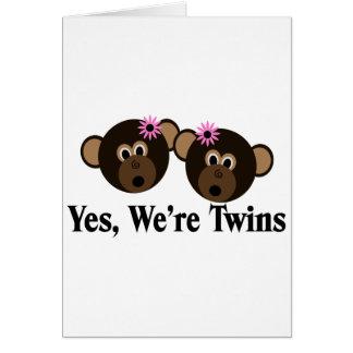 We're Twins 2 Girls Monkeys Card
