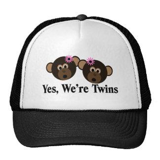 We're Twins 2 Girls Monkeys Trucker Hat