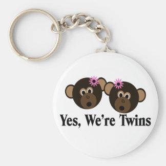 We're Twins 2 Girls Monkeys Key Chain