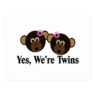 We're Twins 2 Girls Monkeys Postcard
