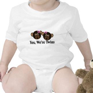 We're Twins 2 Girls Monkeys Baby Bodysuit