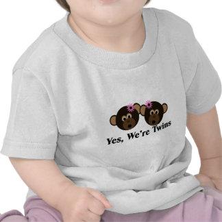 We're Twins 2 Girls Monkeys Tee Shirt